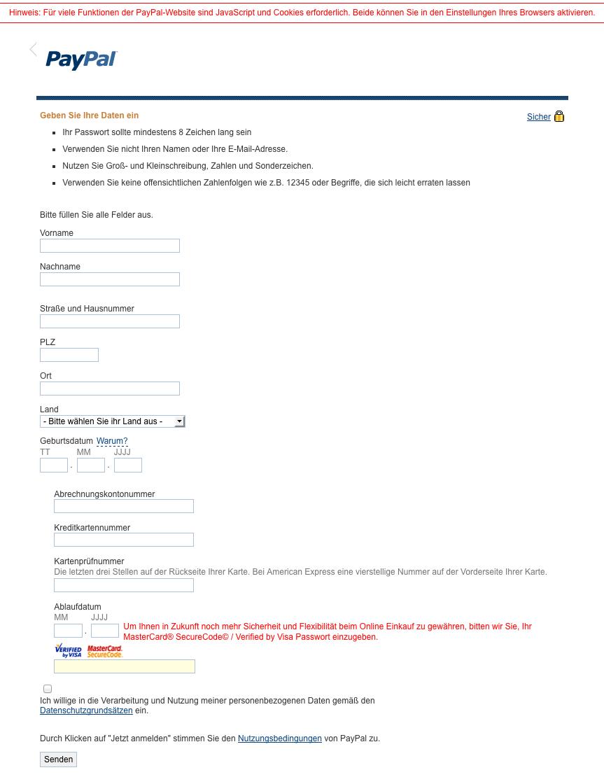 Paypal Registrieren