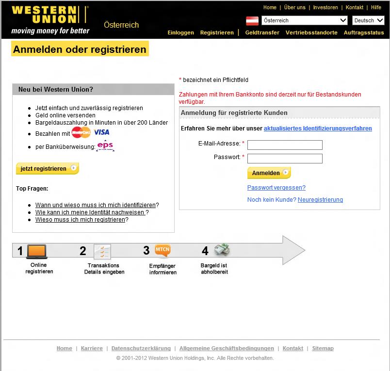 Western Union Nummer Beispiel